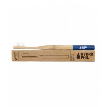 Naturalna, wegańska szczoteczka do zębów z biodegradowalnego bambusa, WŁOSIE MIĘKIE, Niebieska, Hydrophil