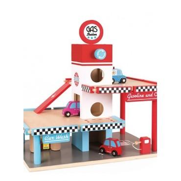 Stacja benzynowa garaż drewniany z 8 elementami Janod