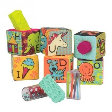 Klocki materiałowe duże z wypełnieniami sorterami B. Toys