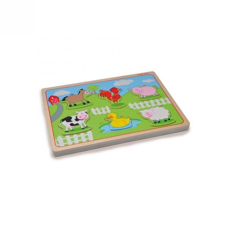 Drewniane puzzle dźwiękowe Zwierzęta na farmie Indigo Jamm