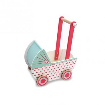 Drewniany wózek dla lalek serduszka Indigo Jamm