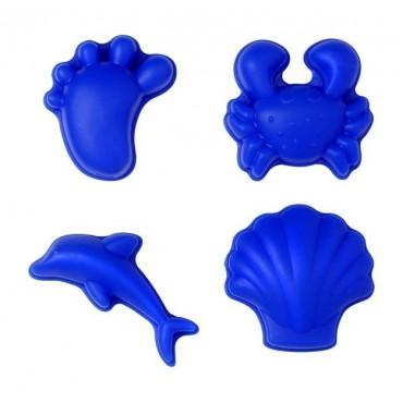 Scrunch-moulds Silikonowe Foremki do piasku, zestaw 4 szt., Niebieskie Funkit World