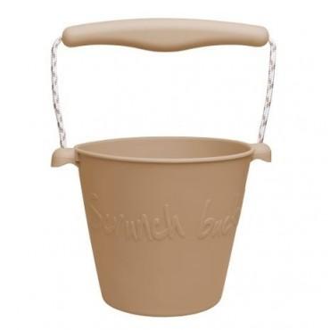 Scrunch-bucket Zwijane wiaderko silikonowe, Jasny Brąz Funkit World